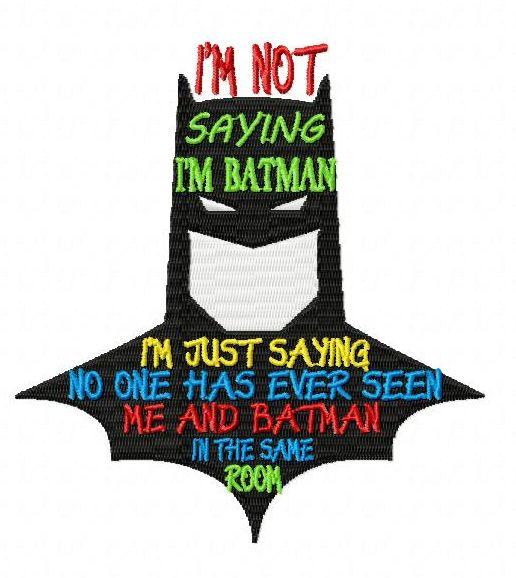 Funny Batman Embroidery Design