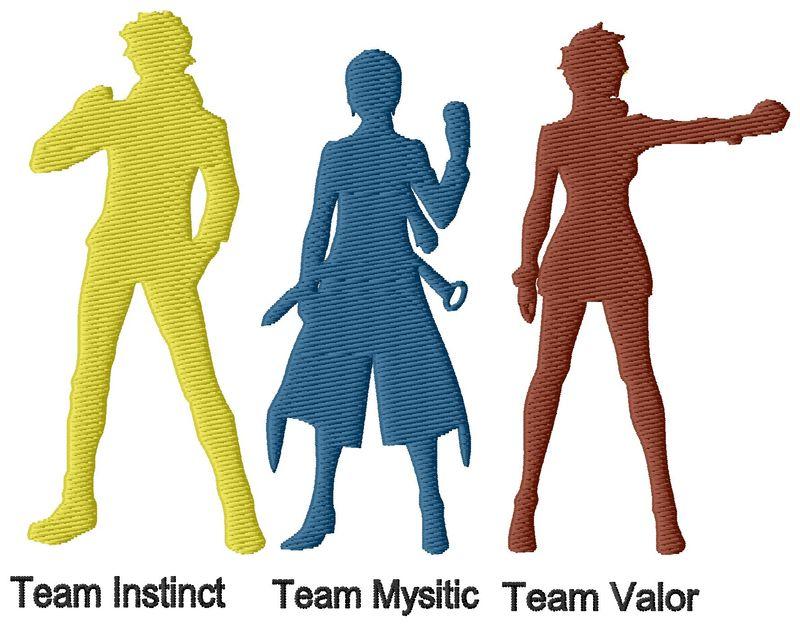 Pokemon Go Teams Embroidery Design