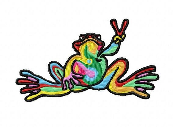 rainbow frog embroidery design