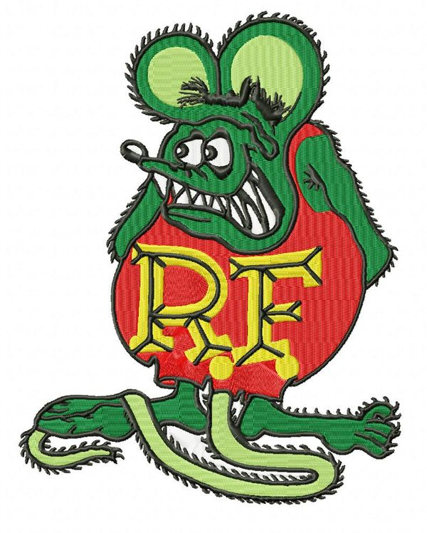 Large Rat Fink Embroidery Design