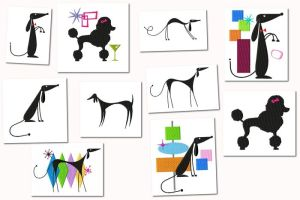 Atomic Retro Dog Embroidery Designs Set