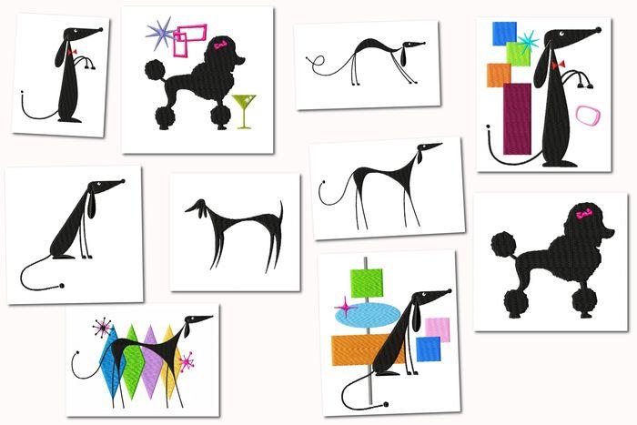 Atomic Retro Dog Embroidery Designs Set