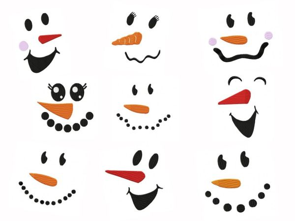 Snowman Faces Embroidery Designs Set 2 - 4 sizes
