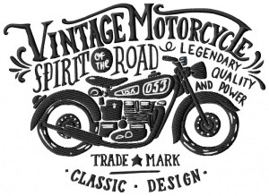 Vintage Biker Embroidery Design