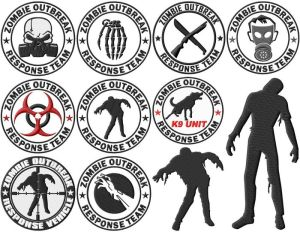 Zombie Apocalypse Response Team Embroidery Designs (2 sizes!)