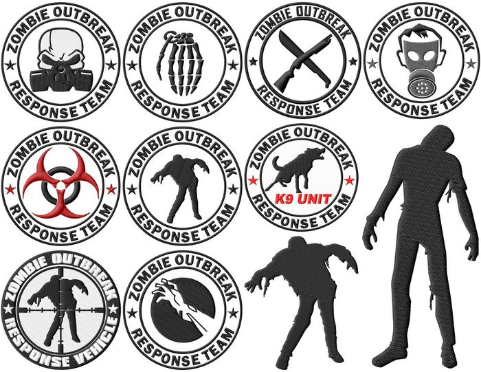 Zombie Outbreak Response Team Embroidery Designs (2 sizes!)