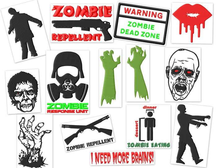 Zombies Embroidery Designs Set (2 sizes!!)