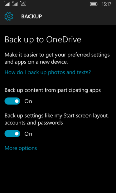 Backup and Restore Windows 10 Mobile
