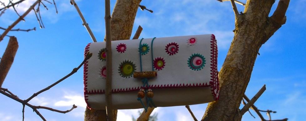 Weißer Traum Portemonnaie, handmade Leder