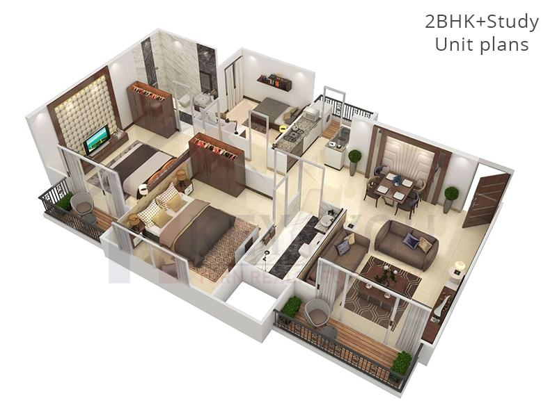 2 BHK + Study UnitFloor Plan of Affordable Housing Gurgaon Sector 36