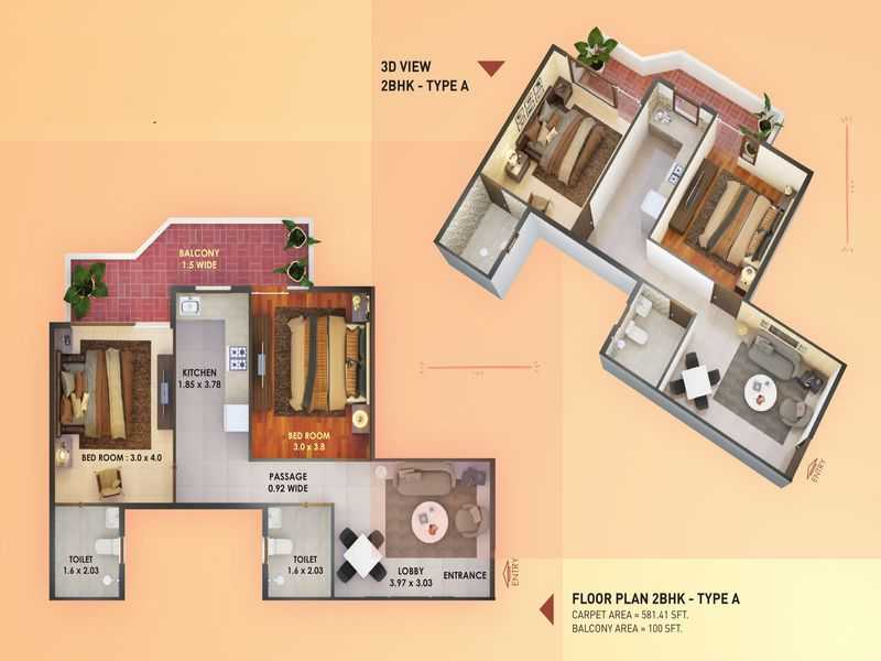 pyramid elite sector 86 2 BHK type a
