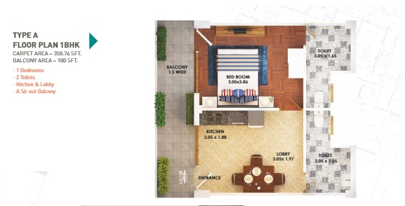 type a 1 bhk