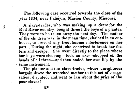 text of Lydia Maria Child's anecdote regrading a mother who beheaded her three children rather than allow them to be sold into slavery.