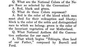 Extract from page 32 of the Universal Negro Catechism explaining the symbolism of the colors Red, Black and Green
