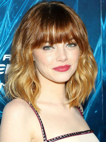 Wow Andrew Garfield Emma Stone shows off hot new fringe and ombre hair on The Amazing Spider