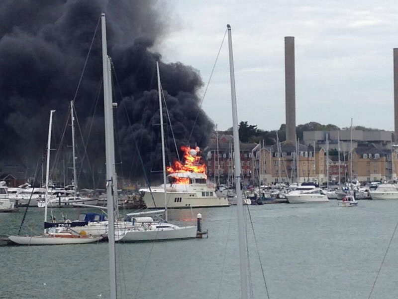Cowes Boat Fire Results In Nordhavn 76 Sinking On Bonfire Night Motor Boat Amp Yachting