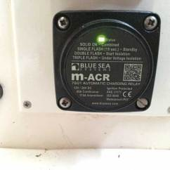 Blue Sea Mini Add A Battery Wiring Diagram Gfci Feed Through Method Installing Automatic Charging Relay Acr Practical Boat Owner An Led Indicator On The Front Of Shows Its Status You Can Check Operation Unit With Multimeter Engine Off House