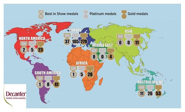 DWWA 2018 medals map