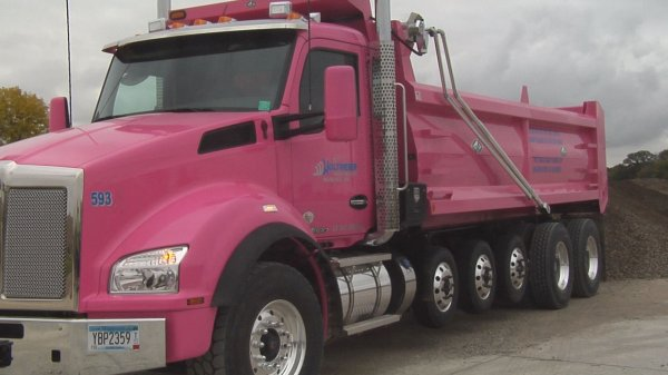 Local Construction Company Raises Donations With Pink Dump Truck