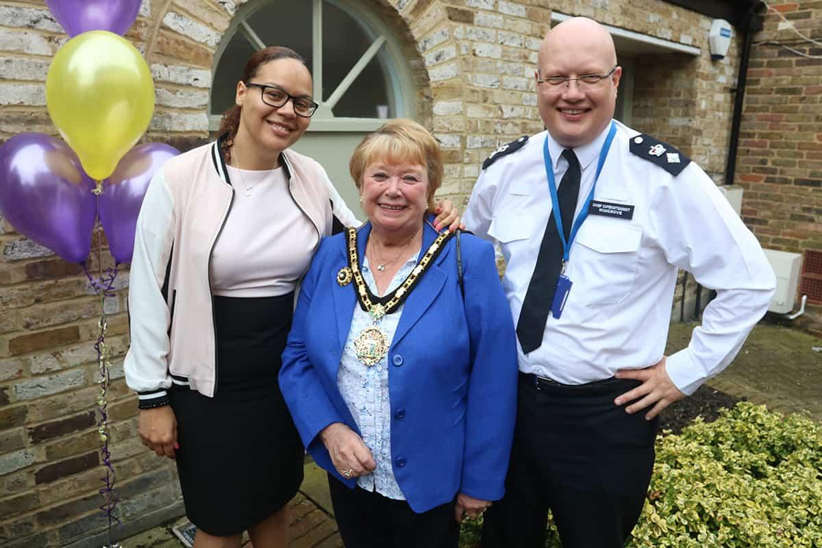 Keeley Taverner psychologist and owner of Key for Change celebrating five years of business with Hillingdon Mayor Cllr Carol Melvin