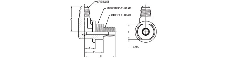 SAE (45° Flare) Inlet - Orifice Hood Outlet