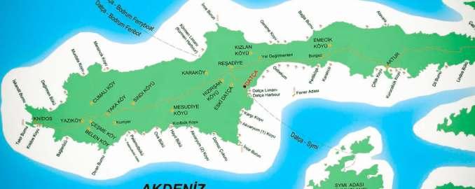 Datça'da Gezilecek Yerler Harita