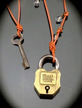 Antique Lock and Skeleton Key Necklace Set - 2 pcs work together $48