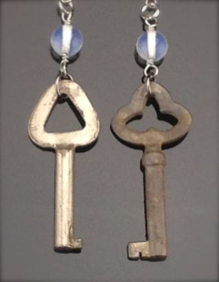 Antique Skeleton Key Earrings w/ clear quartz beads - $23 (SW903)