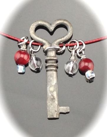 Antique Skeleton Key Necklace - Heart key on red choker $50