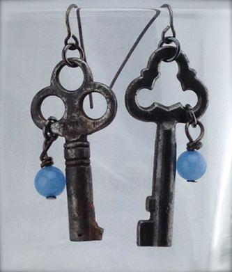 Antiques Skeleton Key Earrings - Victorian Keys w/ blue stone - $26 (SW901)