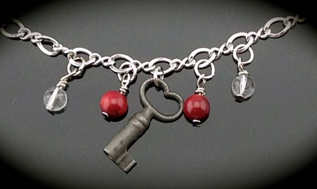 Heart Skeleton Key on Vintage Sterling Bracelet $50