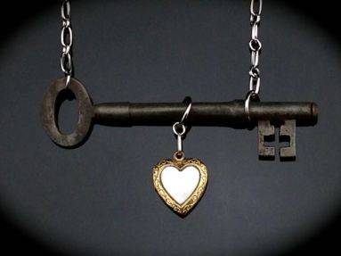 Lovely Double Bit Skeleton Key Necklace w/ Vintage Gold-filled Mother-of-Pearl Locket $50