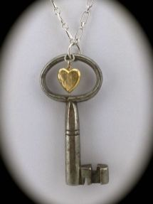 Unique Skeleton Key with Vintage Gold Filled Locket $52