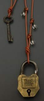 Vintage Padlock and Key from India, with quartz beads, 2 pcs - $48 (SW601)