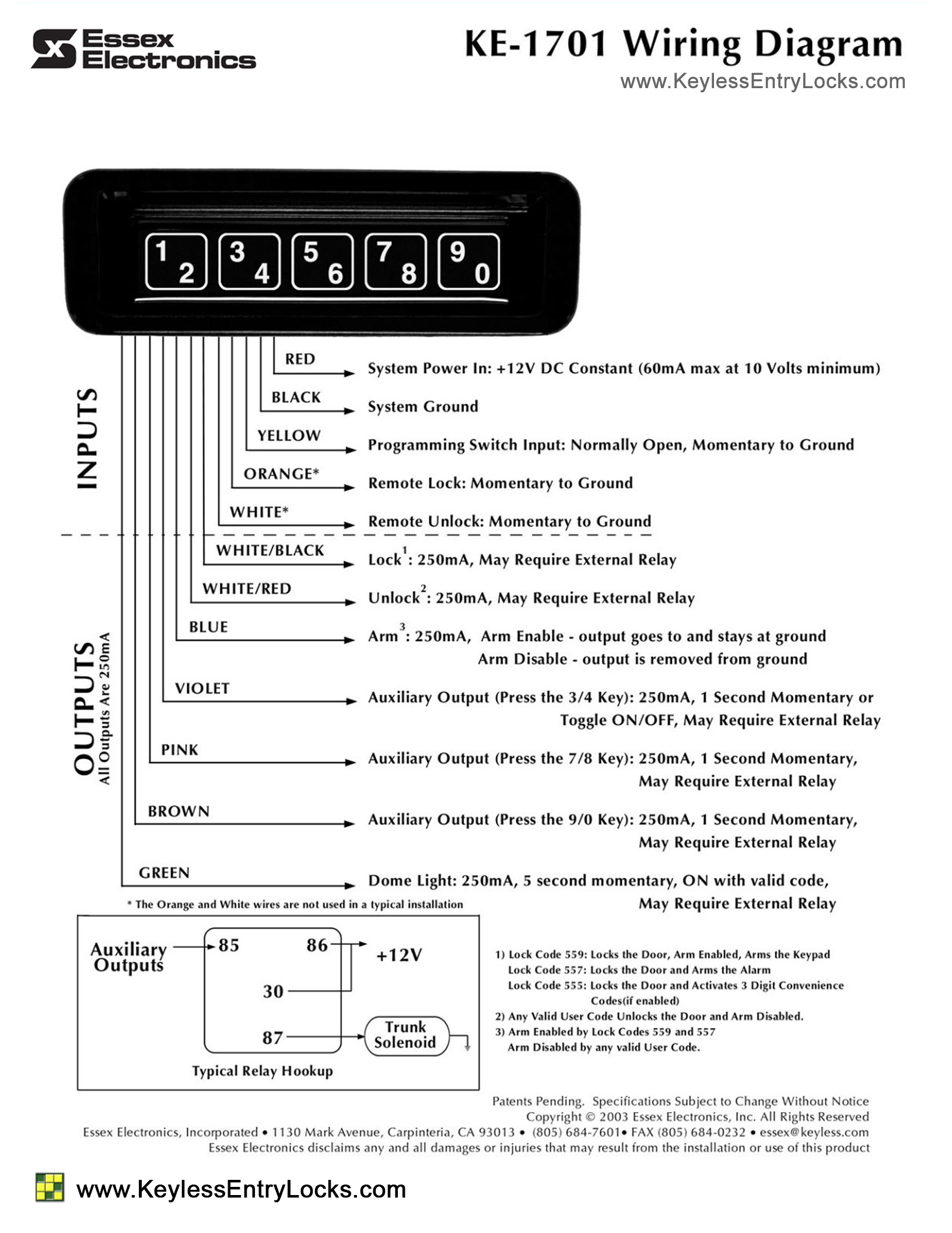 hight resolution of essex ke1701 keypad lock for rvs trucks and buses