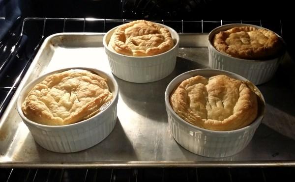 Baked vegan pot pies with golden crusts
