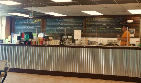 Front counter of restaurant called Farmhouse Greens in Catonsville, Maryland
