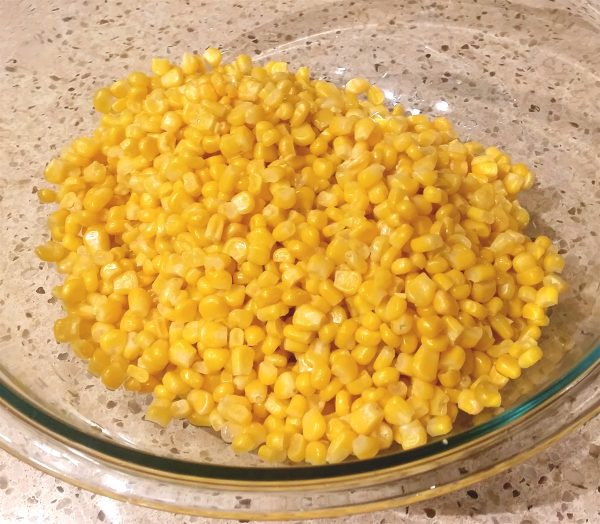 Frozen corn cooked for street corn salad