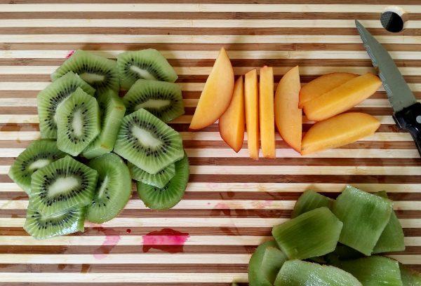 Bright fruit salad kiwis and nectarines