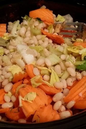 vegan navy bean slow cooker soup