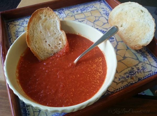 Fresh garden tomato soup vegan