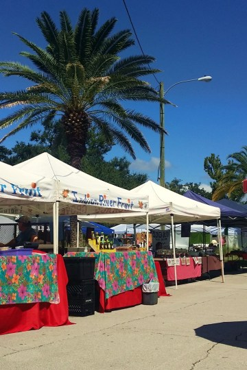 Tents at New Smyrna Beach Florida Farmers Market