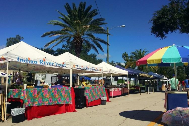 Tents at New Smyrna Beach Florida Farmers Market
