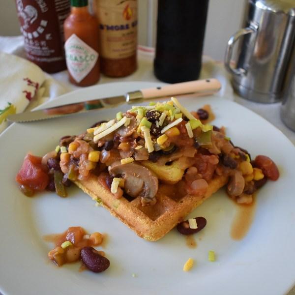 jalapeno cornbread waffle with chili