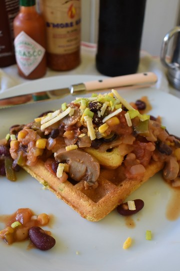 chili waffles plated to serve