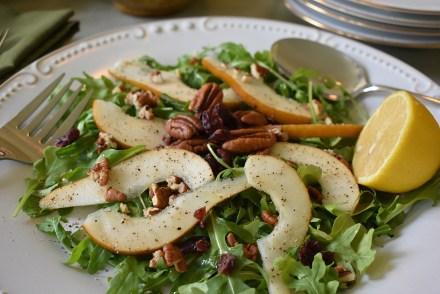 pear pecan arugula salad