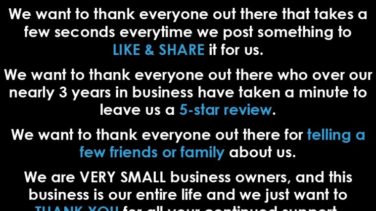 Thank you from a small business owner