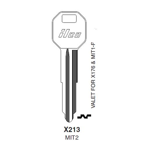 Metal Head: Ilco X213 (MIT2) Key Blank : Chrysler, Mitsubishi
