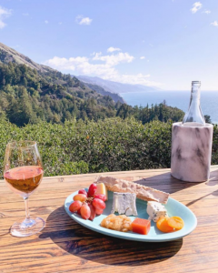 food with a view of the ocean at nepenthe restaurant in big sur
