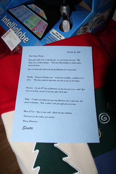 2012 Christmas Scavenger Hunt  Our letter from Santa  The Northwest Update